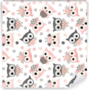 81bf8d7b1d22 Fototapet av Vinyl Söta rosa och grå tecknad ugglor sömlöst mönster för  ungar och babyar mönster