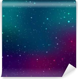 Fototapet av vinyl Space bakgrunn med stjerner og lysflett. Abstrakt astronomisk galakseillustrasjon.