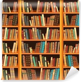 Fototapet av vinyl Stor bokhylle med forskjellige bøker