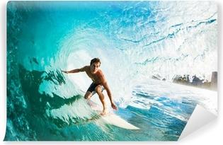 Fototapet av Vinyl Surfer på Blue Ocean Wave i Tube Komma pipa