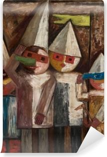 Tadeusz Makowski - Bayrakla Çocuklar Karnavalı Vinyl fototapet
