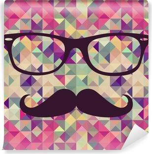 Fototapet av Vinyl Tappning hipsterbröllop ansikte geometriskt mönster.