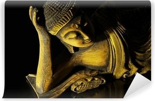 Teak træ ligger buddha på sort Vinyl fototapet
