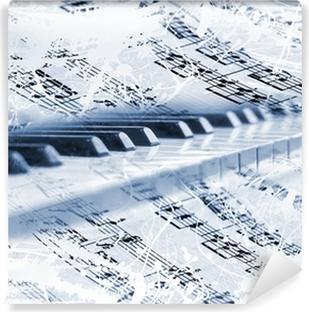 Teclas de piano con notas musicales Vinyl fototapet