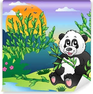 Cartoon Panda In Bamboo Forest Canvas Print Pixers We Live To