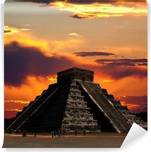 Templerne i chichen itza tempel i Mexico Vinyl fototapet