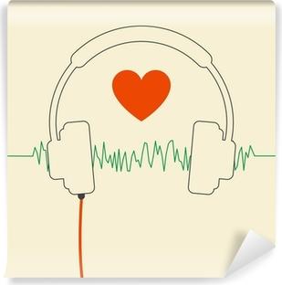 Fototapet av Vinyl Trådbundna hörlurar med hjärta och ljudvåg d8836b30843d3