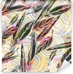 Fototapet av Vinyl Tropiska bladverk seamless. Färgglada vattenfärg blad av exotiska Calathea White anläggning på spiral geometriska mönster, blandad effekt. Textiltryck.