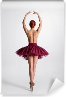 Ung nøgen rødhårede kvindelige balletdanser i et studie Vinyl fototapet