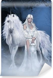 Fototapet av Vinyl Unicorn och vackra fe