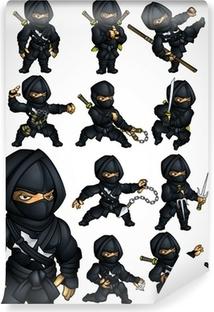 Fototapet av Vinyl Uppsättning av 11 Ninja poserar i en svart kostym