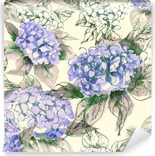 Fototapet av Vinyl Vattenfärg Hortensia sömlösa mönster
