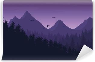 Fototapet av Vinyl Vektor illustration av bergslandskap med skog under lila natthimlen med moln och flygande fåglar