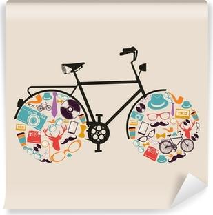Fototapet av Vinyl Vintage hipsters ikoner cykel.