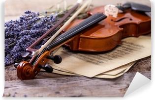 Vintage sammensætning med violin og lavendel Vinyl fototapet