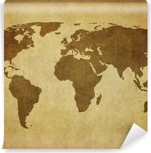 Fototapet av Vinyl Vintage världskartan.