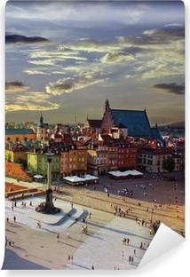 Fototapet av Vinyl Warszawa slott torg och solnedgång