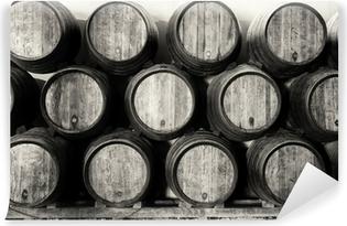 Fototapet av Vinyl Whisky eller vin fat i svart och vitt