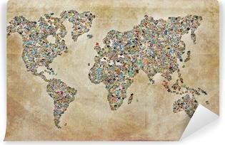 Fototapet av Vinyl World Map bilder, vintagestruktur