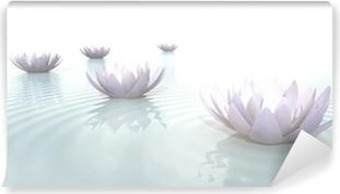 Fototapet av Vinyl Zen blommar på vatten i widescreen