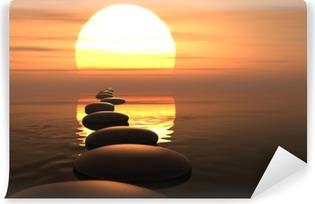 Fototapet av Vinyl Zen väg stenar i solnedgången