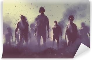 Fototapet av vinyl Zombie publikum vandre om natten, halloween konsept, illustrasjonsmaleri