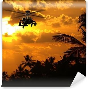 Vinylová Fototapeta 3D fotorealistický render vrtulníku Apache při západu slunce.