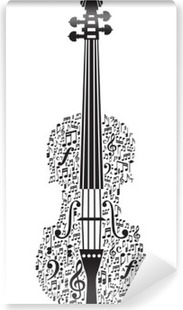 Vinylová Fototapeta Abstraktní housle a hudební symboly