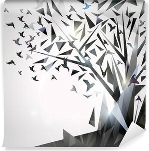 Vinylová Fototapeta Abstraktní strom s ptáky origami.