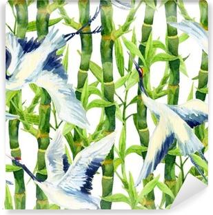 Vinylová Fototapeta Akvarel asijských jeřáb pták bezešvé vzor