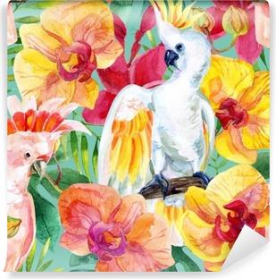 Vinylová Fototapeta Akvarel australský kakadu bezešvé vzor