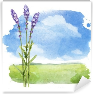 Vinylová Fototapeta Akvarel ilustrace letní krajina