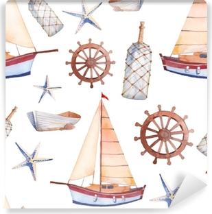 Vinylová fototapeta Akvarel mořské bezešvé vzor. opakující se textury s  plachetnicí 9da0248642
