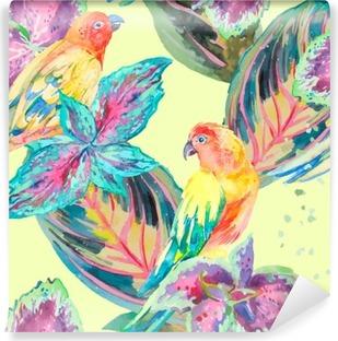Vinylová Fototapeta Akvarel Papoušci .Tropical květiny a listy. Exotický.