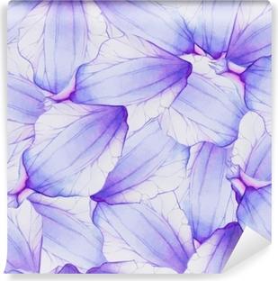 Fototapeta winylowa Akwarela bezszwowe wzór z fioletowym płatek kwiatu