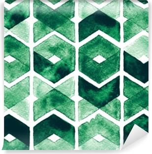 Fototapeta winylowa Akwarela chevron zielone kolory na białym tle. abstrakcyjny wzór bez szwu dla tkaniny. bujna łąka