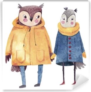 Fototapeta winylowa Akwarela ilustracje z ptakami. dwie zakochane sowy. ręcznie rysowane malarstwo akwarela. hipster zwierząt w płaszczach.