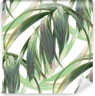 Fototapeta winylowa Akwarele ilustracji z liścia, bez szwu wzorca na białym tle