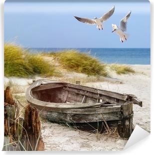 Vinylová Fototapeta Altes Fischerboot, Möwen, Strand und Meer