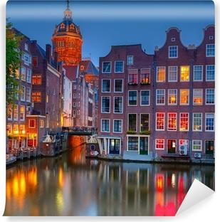 Vinylová fototapeta Amsterdam v noci