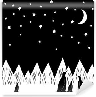Vinylová Fototapeta Arctic noc vektorové ilustrace s tučňáky rodinou, geometrické zasněžených horách, měsíc a hvězdy. Černá a bílá přírody tisku. Roztomilý hory krajiny pozadí.