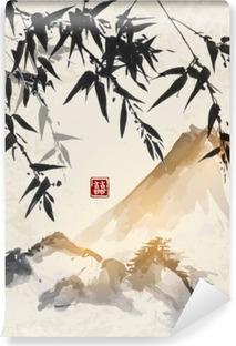 Fototapeta winylowa Bamboo i gór. Tradycyjne japońskie malarstwo tuszem sumi-e. Zawiera hieroglif - podwójne szczęście.