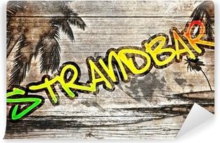 Vinylová Fototapeta Beach grafit auf alten Holzbrett