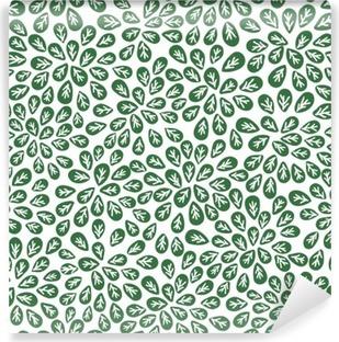Fototapeta winylowa Bez szwu abstrakcyjny wzór zielonych liści, liści wektor