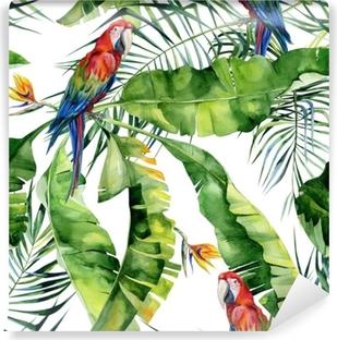 Fototapeta winylowa Bez szwu akwarela ilustracja tropikalnych liści, gęsta dżungla. papuga ara szkarłatny. kwiat strelitzia reginae. malowane ręcznie. wzór z motywem tropic summertime. liście palmy kokosowej.