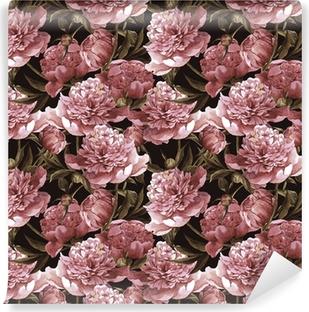 Vinylová Fototapeta Bezešvé akvarel pozadí s růžovým pivoňky