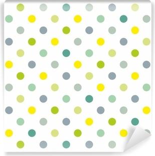Vinylová Fototapeta Bezešvé jarní vzor modré puntíky bílé pozadí