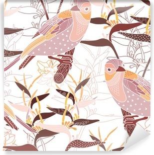 Vinylová Fototapeta Bezešvé květinový vzor s ptáky