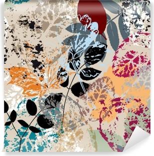 Vinylová Fototapeta Bezešvé pozadí vzor, s listy, mrtvice a postříkání