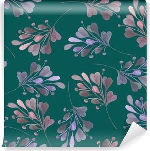 Vinylová Fototapeta Bezešvé vzor s akvarelem růžové a fialové listí a větve na tmavém zeleném pozadí, svatební dekorace, ručně kresleny v pastelové